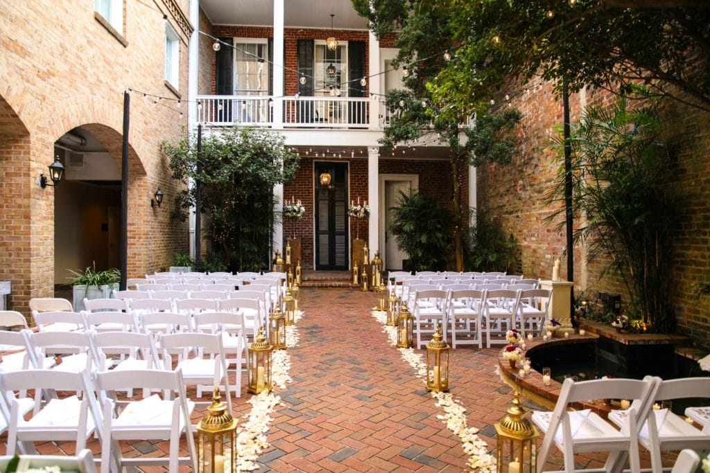 The courtyard at Chateau LeMoyne in the French Quarter set for Sarah and Christopher's wedding.