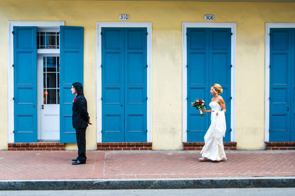 Sara walks towards Christoper for their first look in the French Quarter.