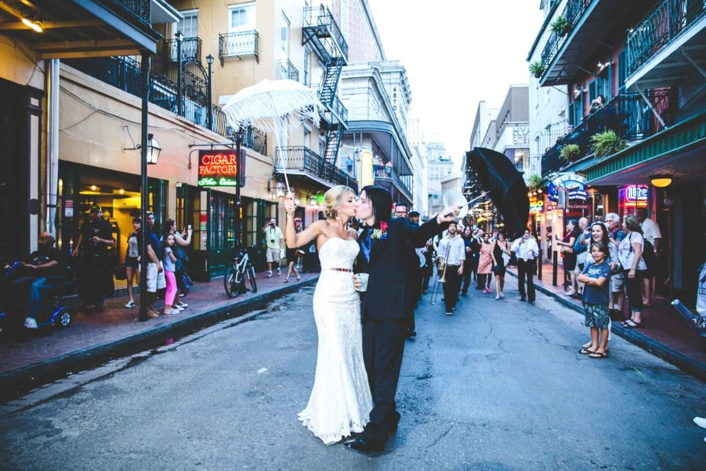 The happy couple second line on Bourbon Street.