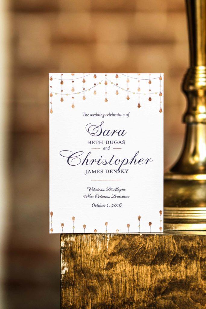 Sara and Christopher's wedding invitaiton.