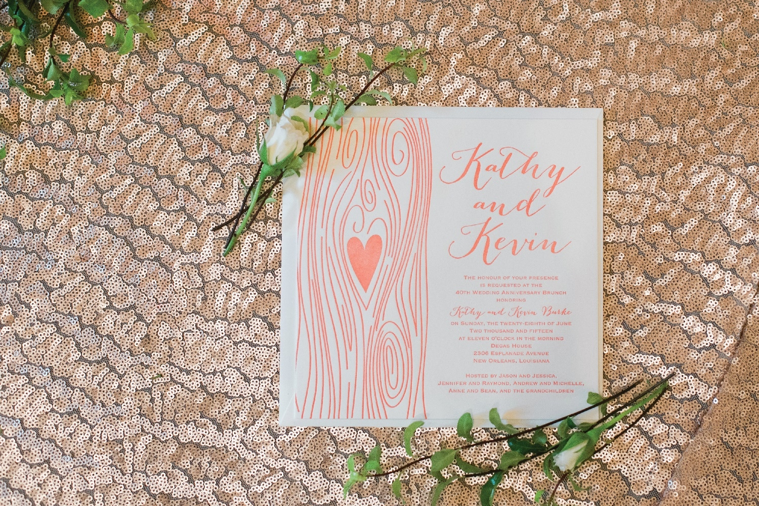 Letterpress style invitation from Abbey Printing. Photo: Red Leaf Weddings