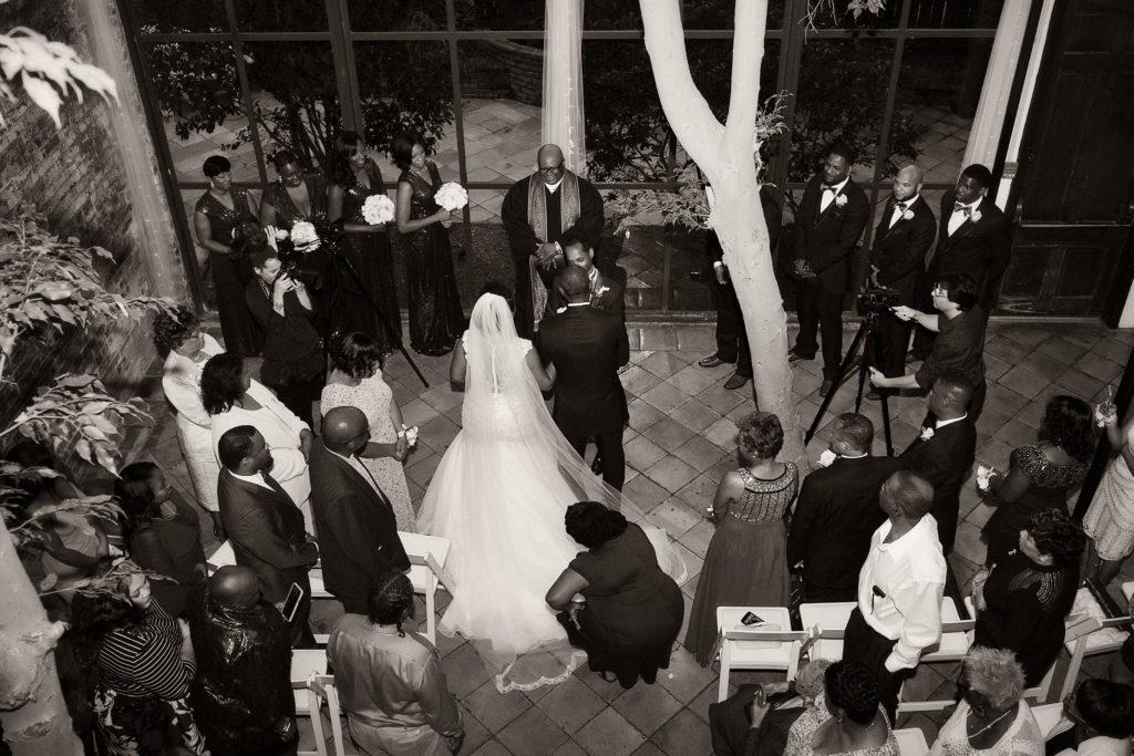 A wedding ceremony in Rosy's Jazz Hall atrium. Photo: Julia Bailey