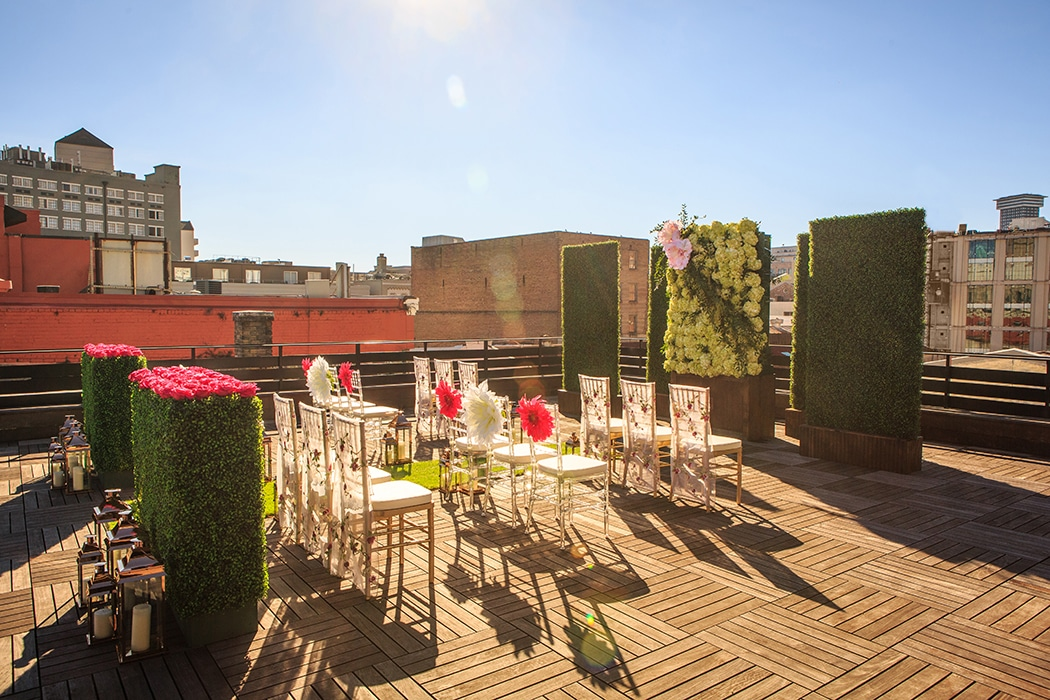 Rooftop wedding ceremony at The Chicory. Photo: GK Photography