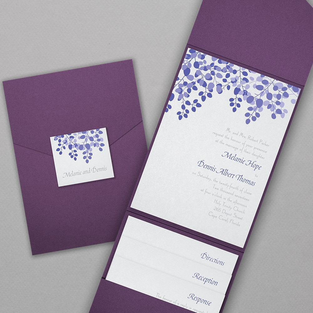 Purple portfolio style wedding invitation by Abbey Printing.