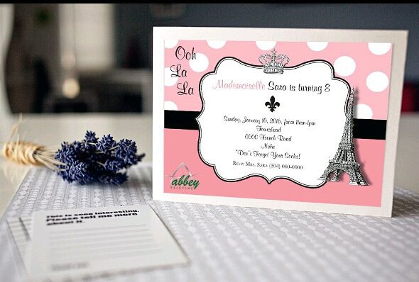 Pink and black Paris-themed invitation by Abbey Printing.