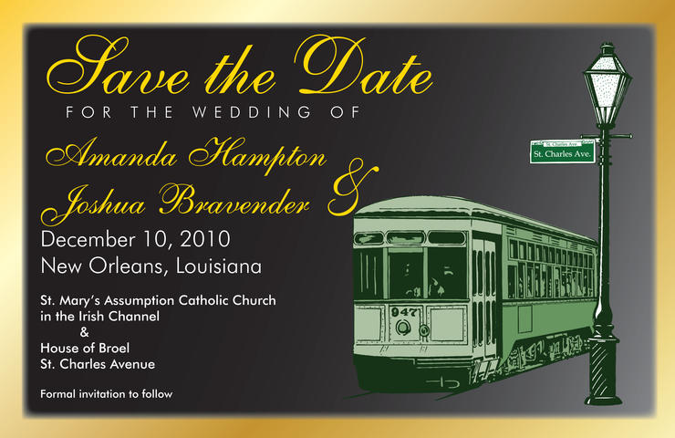 New Orleans Streetcar Save the Date card by Abbey Printing.