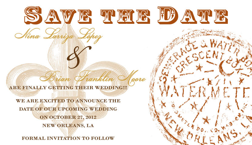 New Orleans-themed Save the Date with Fleur De Lis and Watermeter by Abbey Printing.