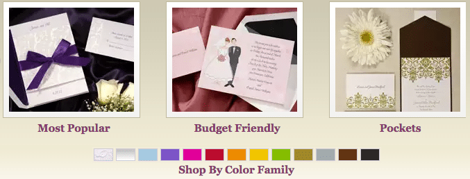 Graphic showing invitation color palette and styles.