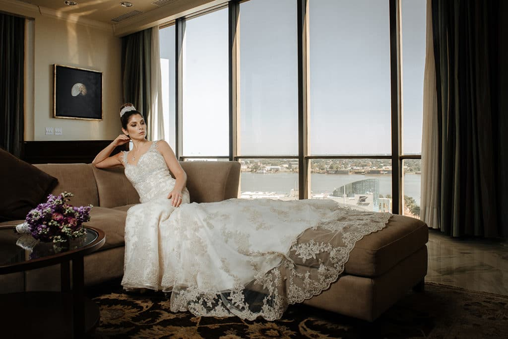 5ebad84291282 Rebecca is wearing an Ella Rosa gown featuring corded Alencon lace over  English Net with organza and satin paired with the Claire Pendant from  David ...