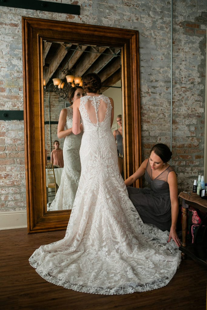 A bride gets ready for his wedding ceremony in The Chicory's bridal suite. Photo: GK Photography