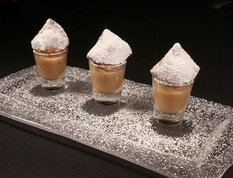 Cafe au lait and beignet shooters by Pigeon Caterers. Photo: Jessica The Photographer