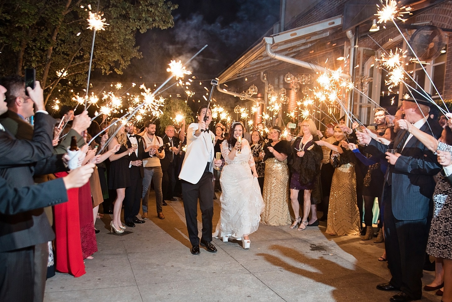 A sparkler wedding exit at Generations Hall.