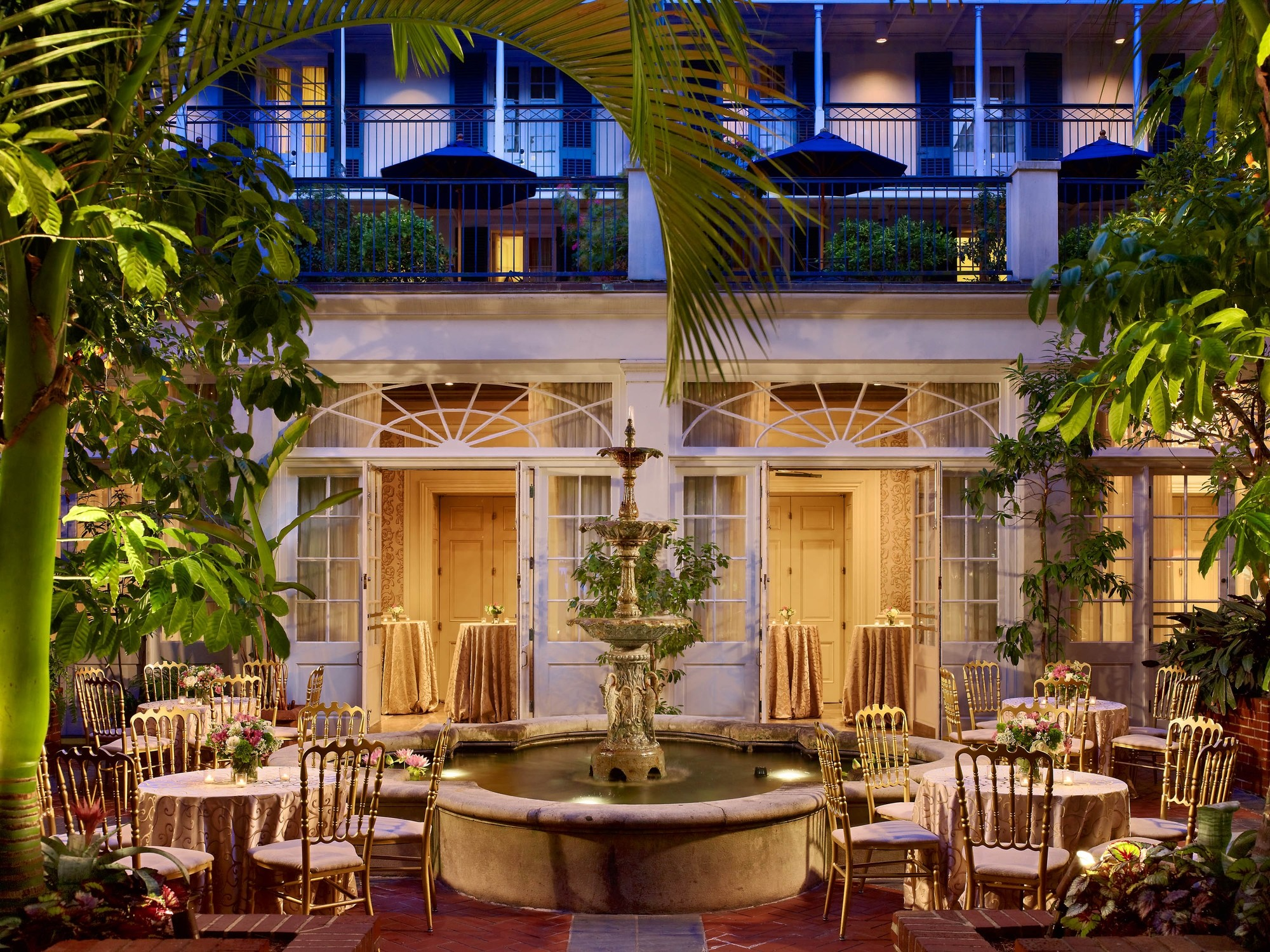 Royal Sonesta New Orleans Hotel courtyard set for a wedidng.