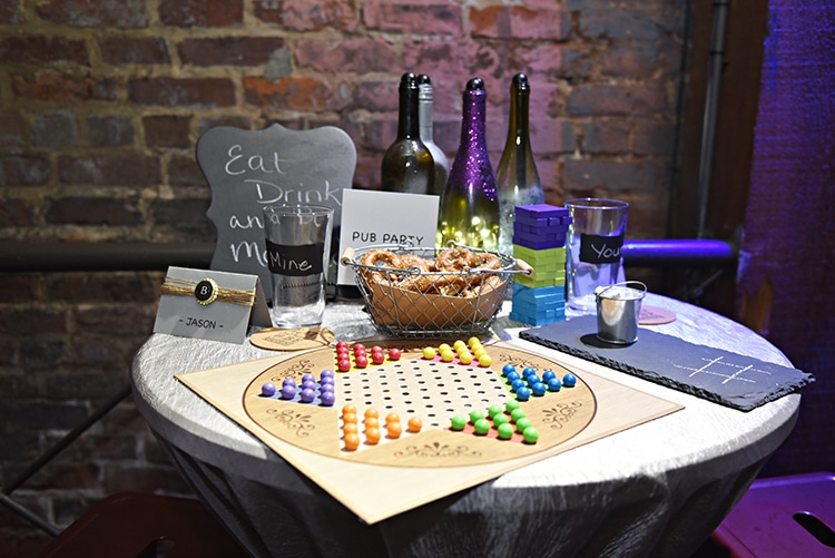 Pub Party featuring games and illuminated wine bottles
