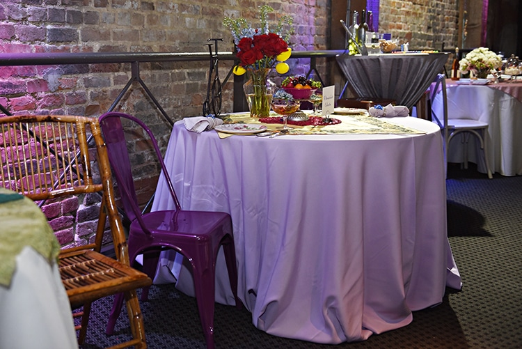 Ultraviolet Eclectic decor, chairs and linen courtesy of True Value Rental