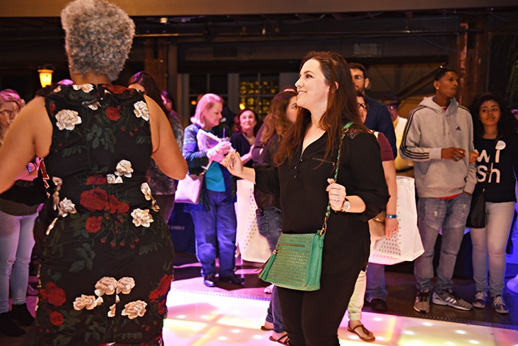 Guests dancing on the Power Productions LED dance floor