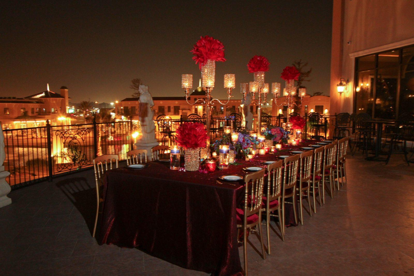Red Wedding Reception table on Royal Palm Terrace.