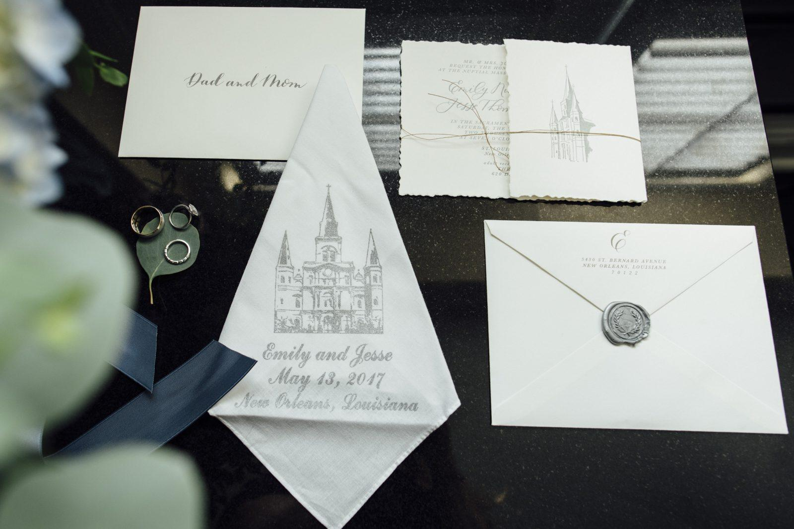 Wedding invitation suite featuring the St. Louis Cathedral. Photo by Gabby Chapin Photography