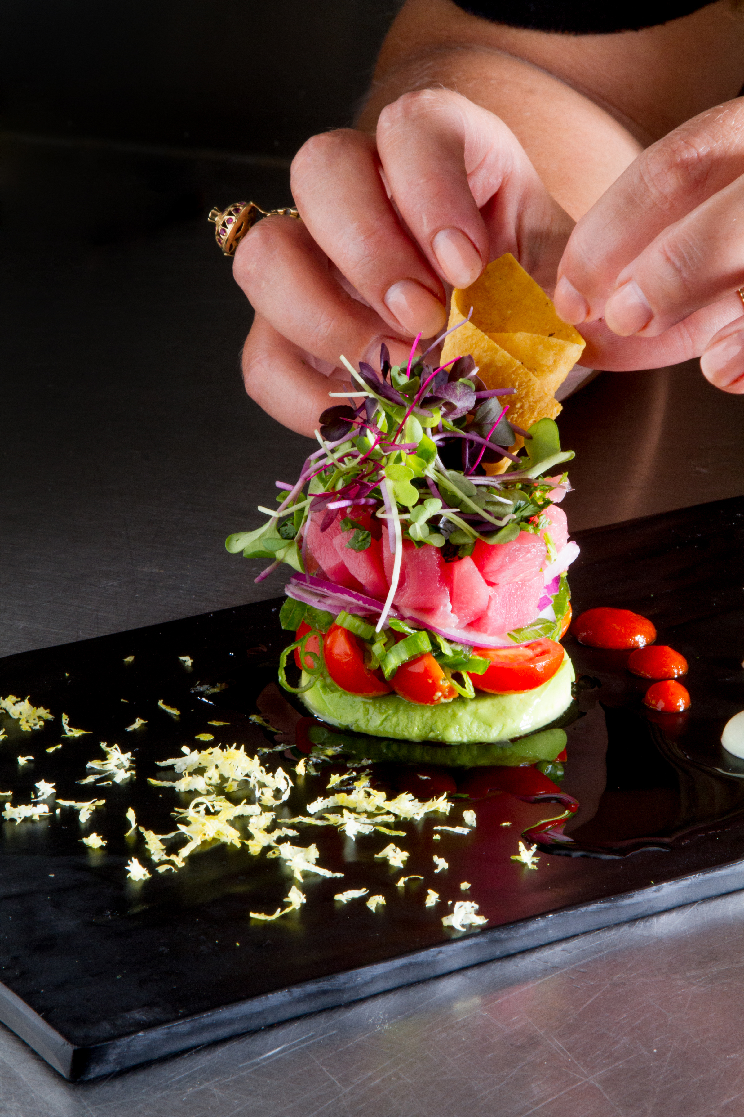 Tuna avacado stack by Pigeon Caterers. Photo: Jessica The Photographer