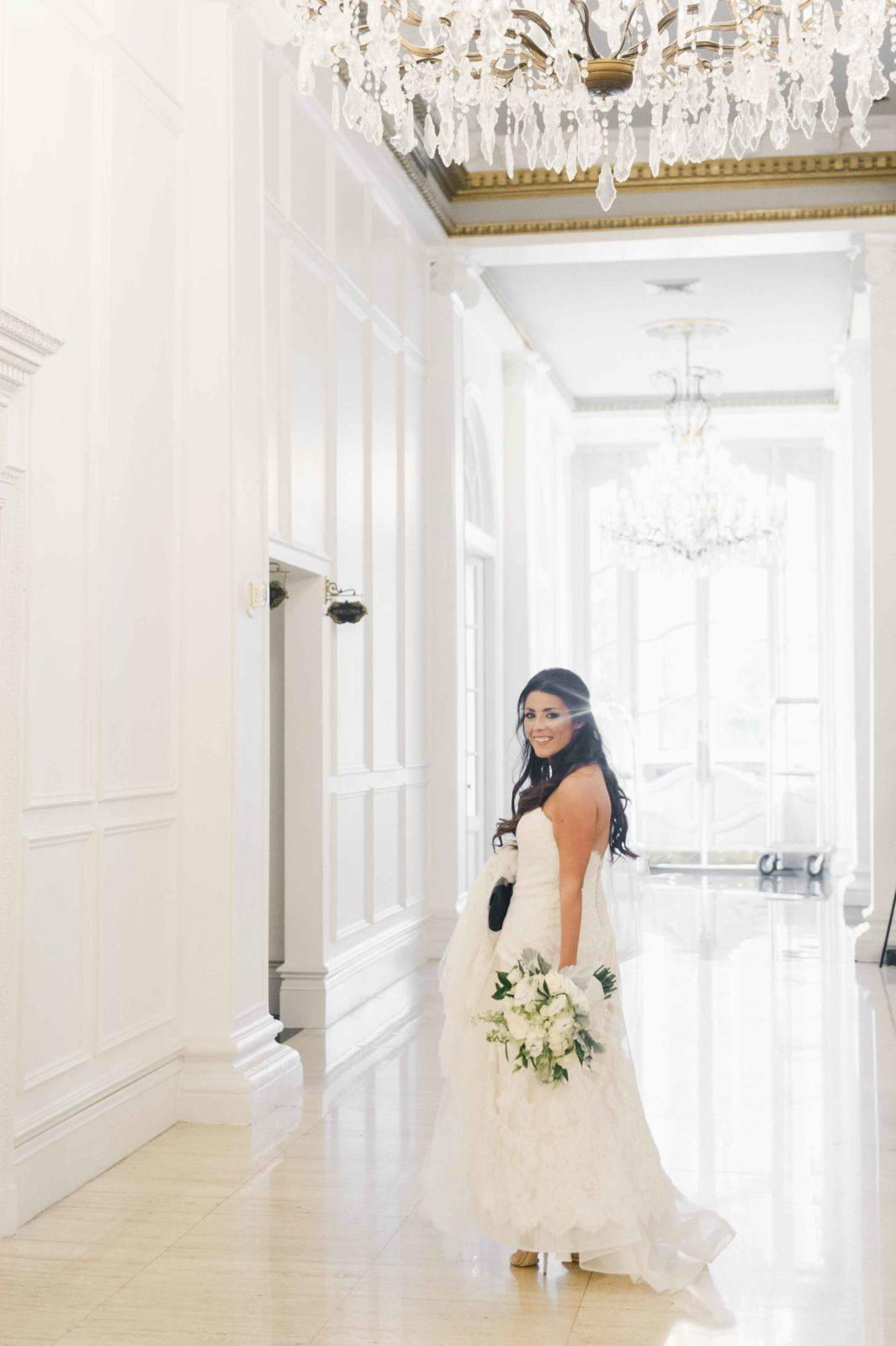 Bride in lobby of Le Pavillon New Orleans. Photo: Catherine Guidry Photography