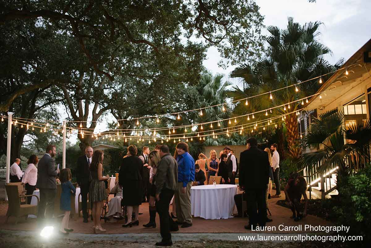 Wedding reception on the patio at Audubon Clubhouse. Photo: Lauren Carroll