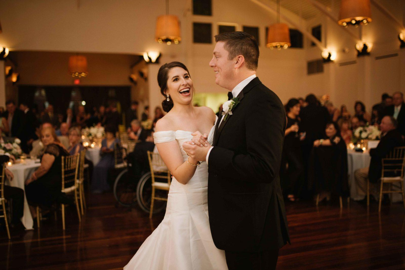A newlywed couple dances at their wedding reception at the Audubon Tea Room. Photo: Lauren Carroll Photography