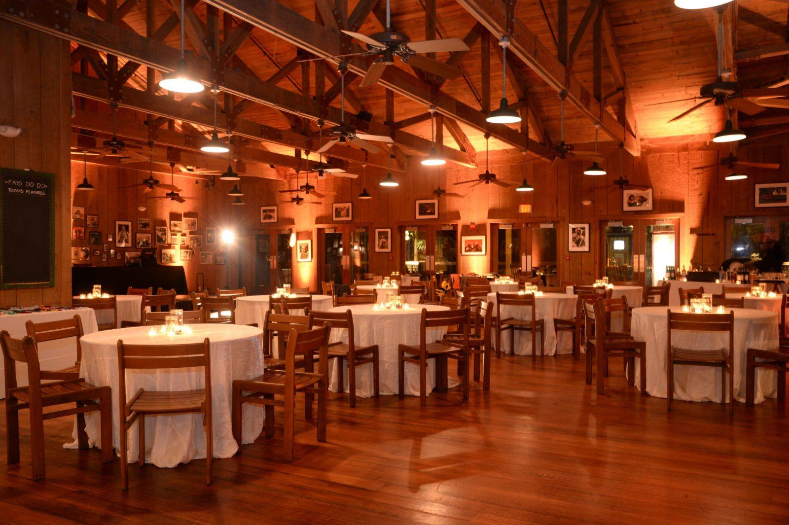 The Cajun Ballroom set for a wedding reception. Photo: Audubon Special Events