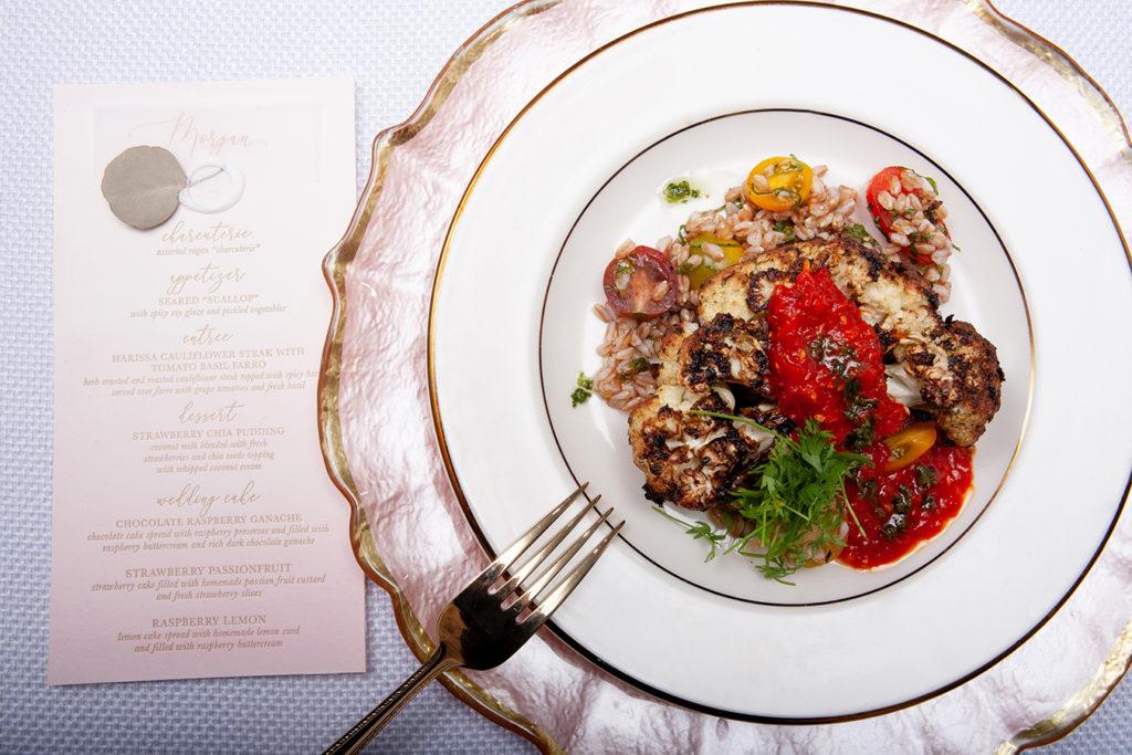Harissa Cauliflower Steak with Tomato Basil Farro