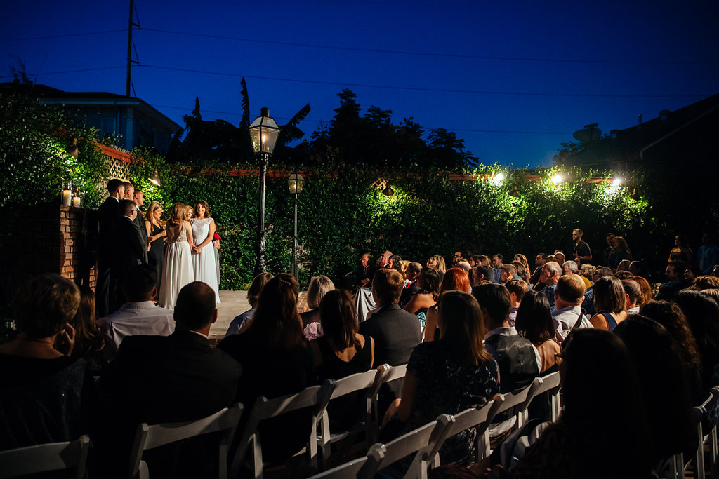 Outdoor wedding ceremony at Rosy's Jazz Hall. Photo: Xistence Photography