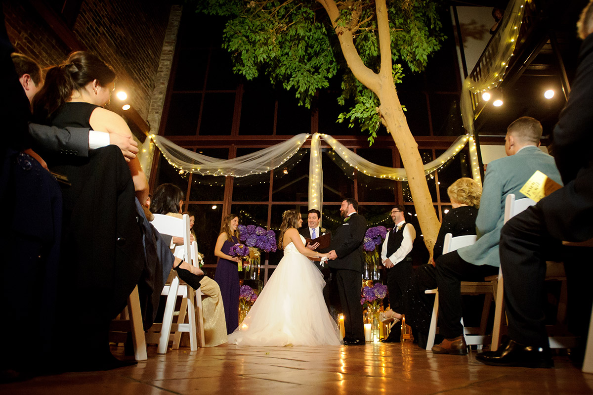 A wedding ceremony in Rosy's Jazz Hall atrium. Photo: Crystal Anderson Photography
