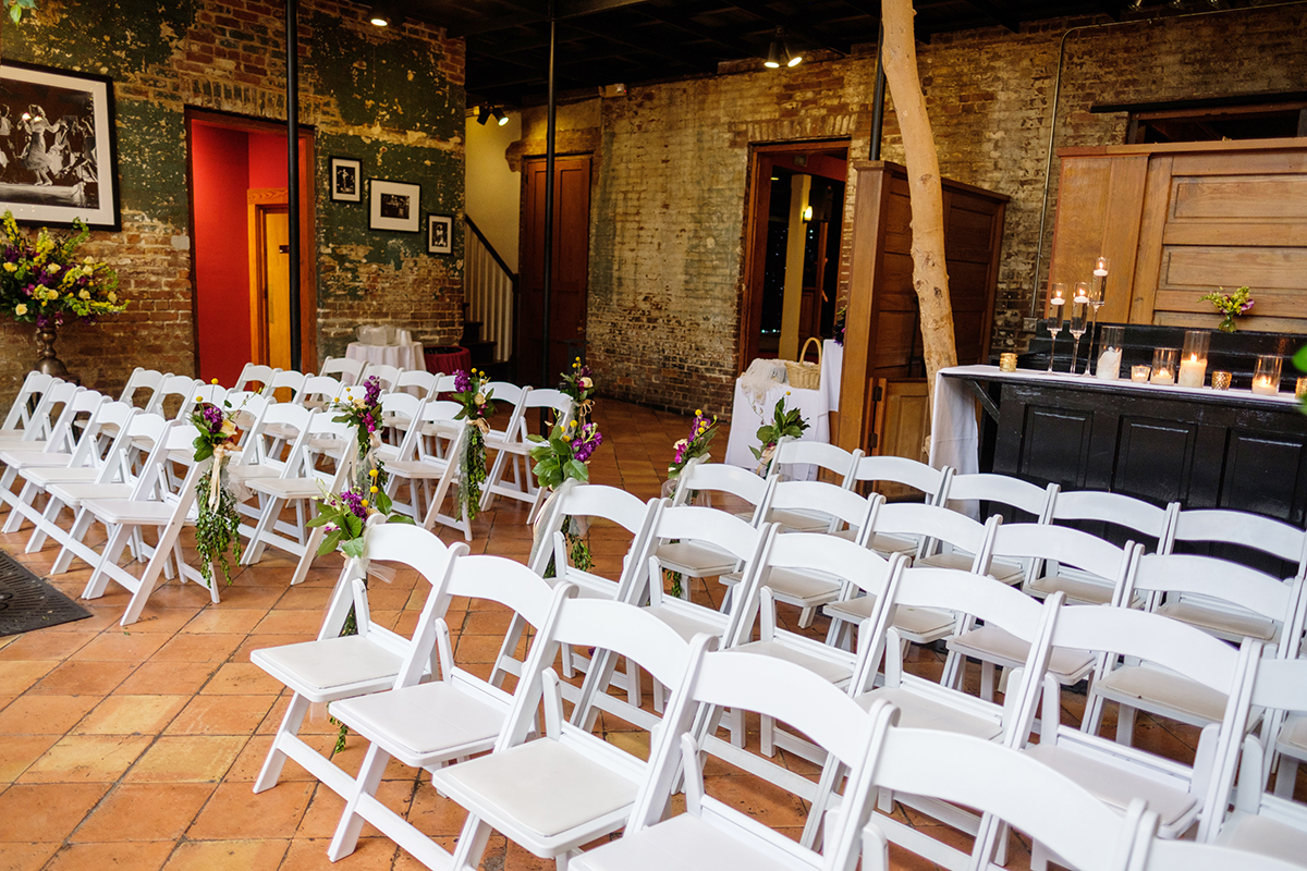 Rosy's Jazz Hall atrium set for a wedding ceremony. Photo: Studio Tran