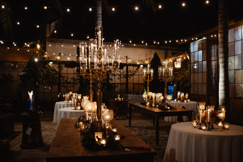 Portable heaters add warmth to outdoor weddings in our rare cold snaps in New Orleans. | photo by Dark Roux