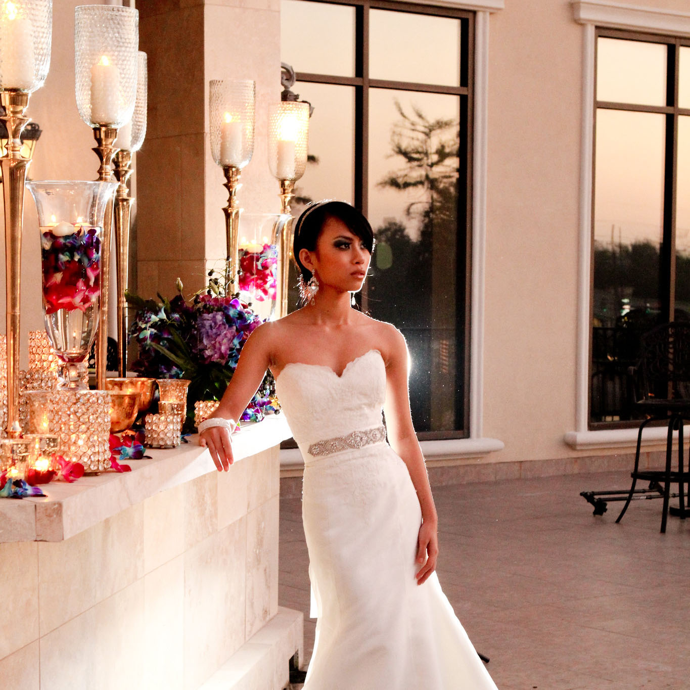 Bride on Royal Palm's terrace. Photo: Jessica The Photographer