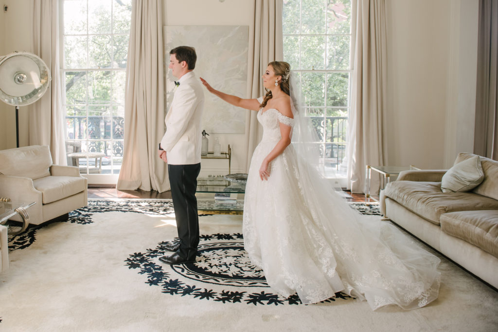 """Wedding """"first look"""" at Jon Vaccari House in New Orleans."""