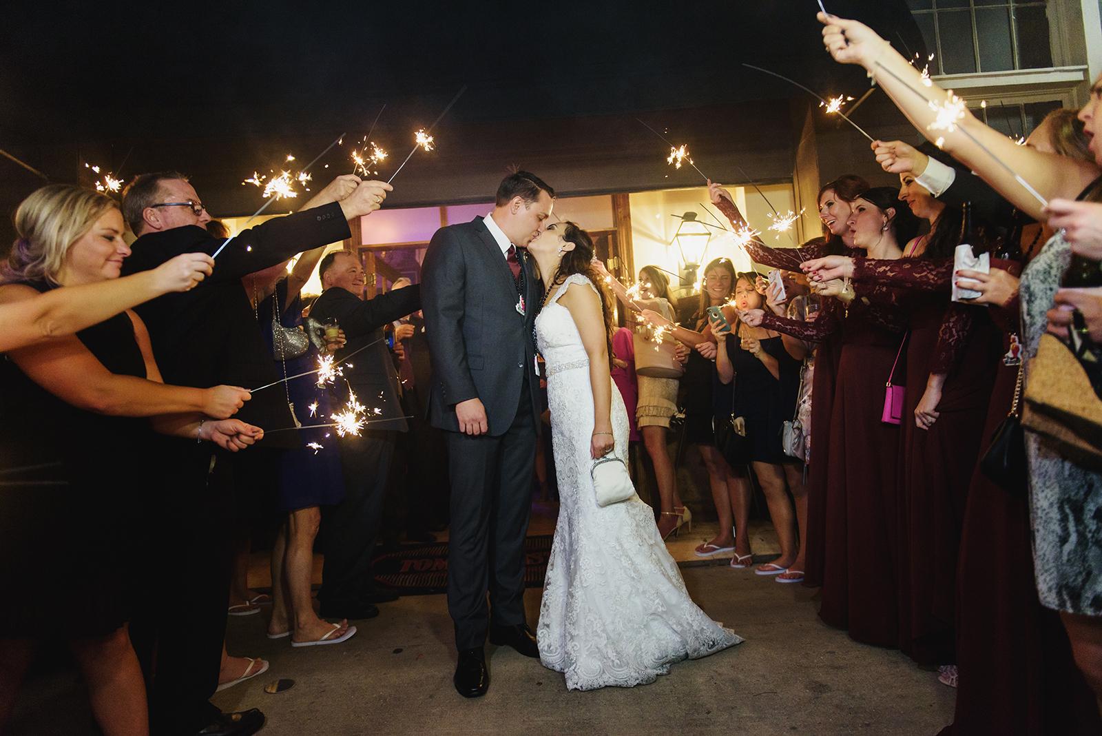 New Orleans wedding reception sparkler exit.
