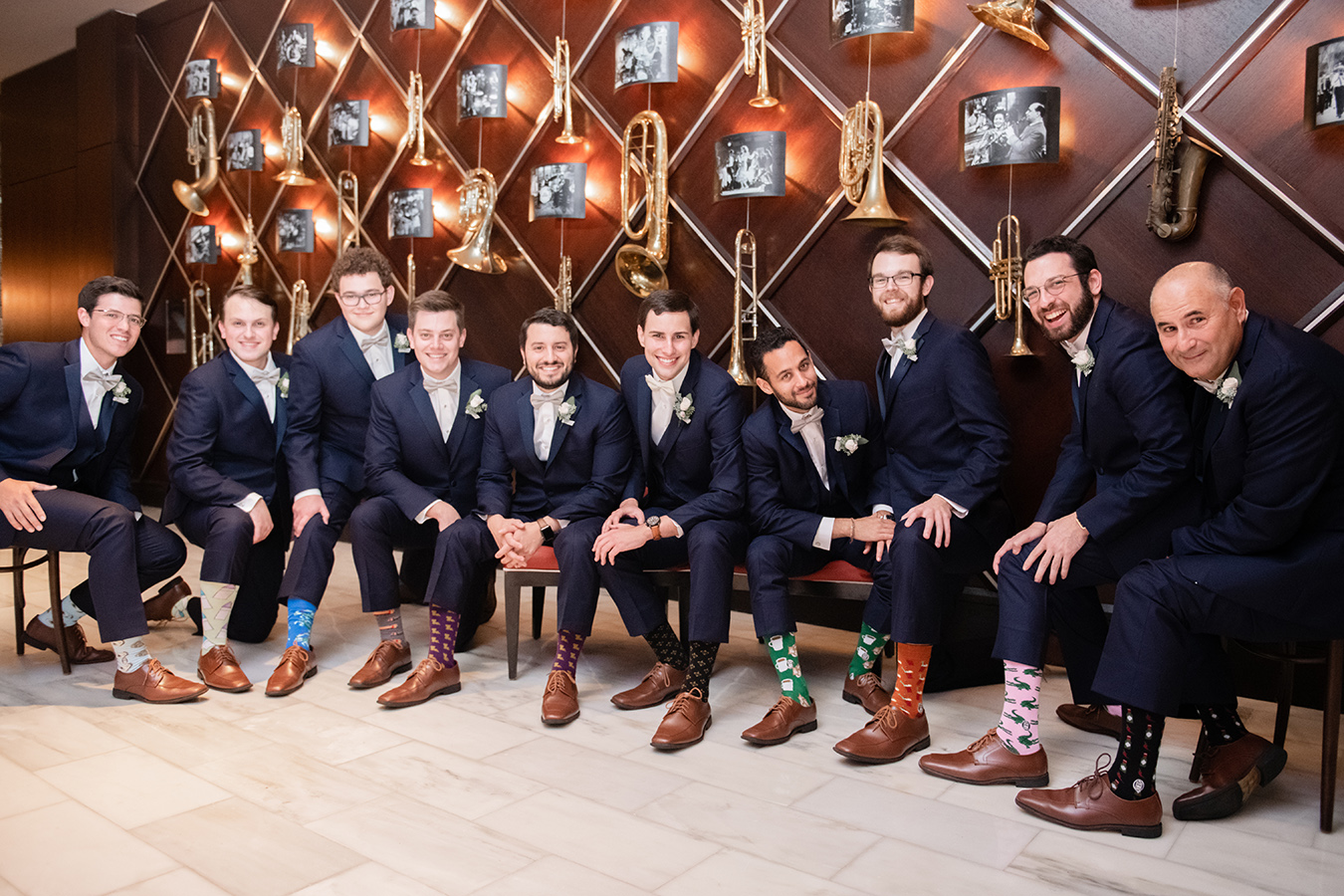 Kevin gifted Bonfolk socks to his groomsmen, each receiving a unique design, but all with NOLA flair!