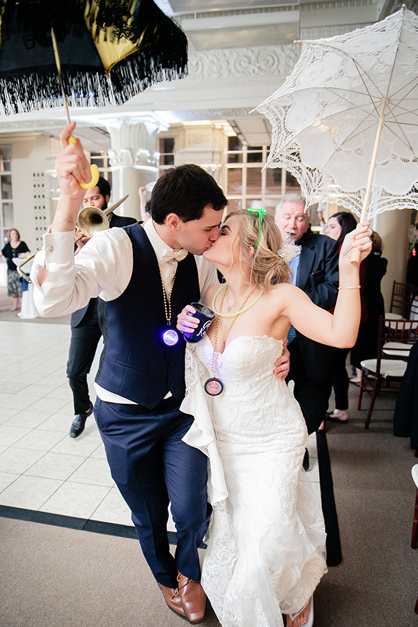 "For their reception, Kevin and Abbie wanted a location that was very New Orleans. ""We looked at plenty of venues but the Federal Ballroom had an extra old New Orleans flair that, while other venues also have, we felt the ballroom was organically New Orleans,"" shares Abbie."