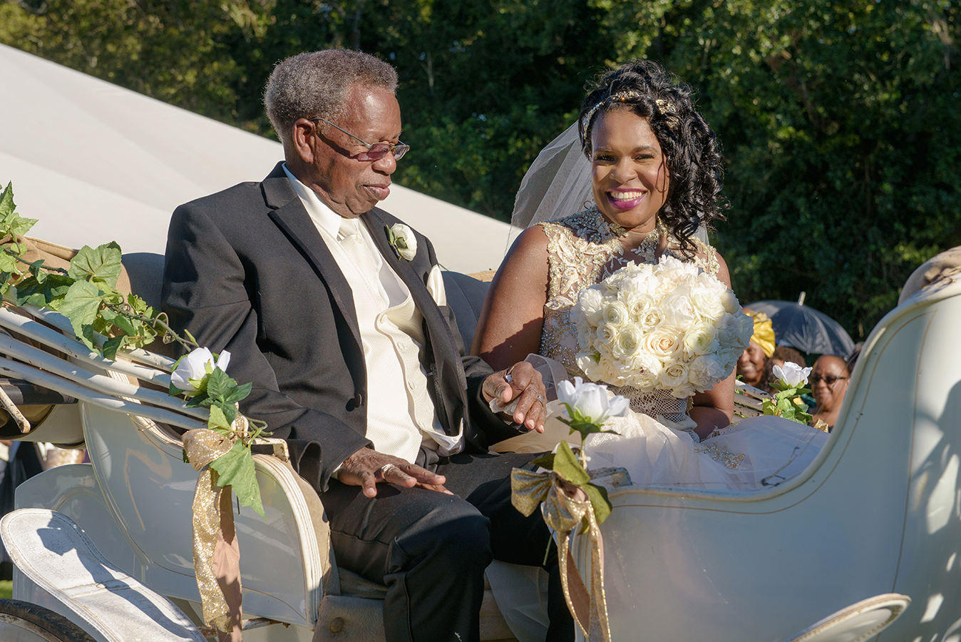 """The favorite part of my wedding day was the horse and carriage ride,"" shares Doliecha."