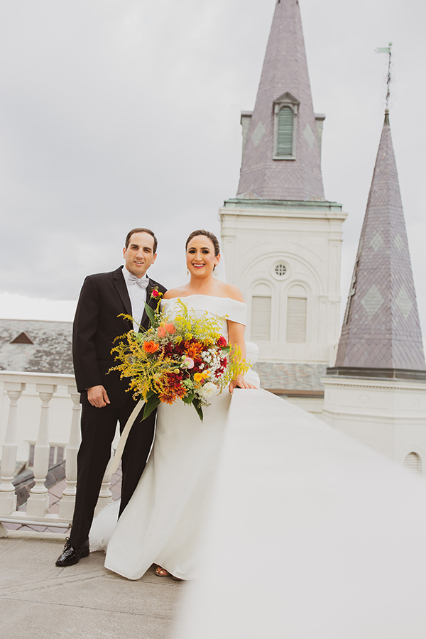Richard and Susan pose for portraits on the Cabildo rooftop.