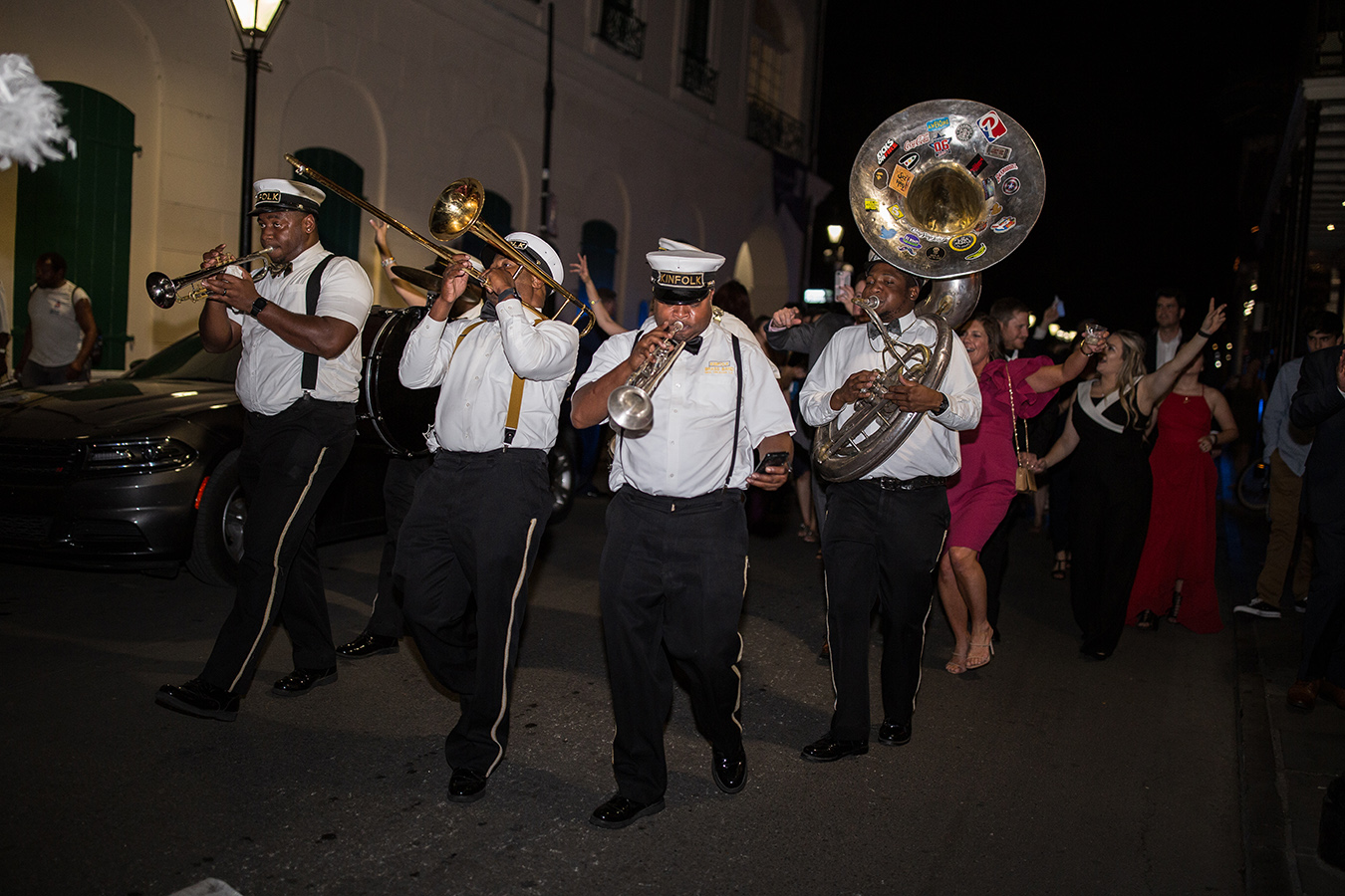 The reception ended with a traditional New Orleans second line through the streets of the French Quarter.