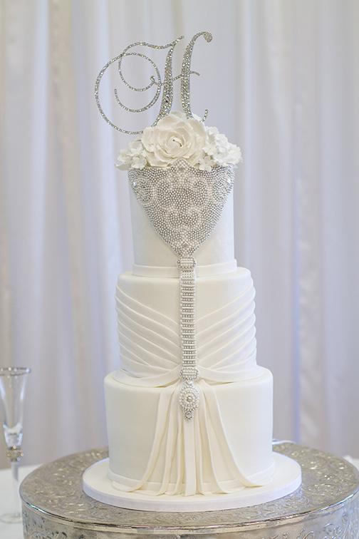 Fondant draped wedding cake by Kimbla's Cakes