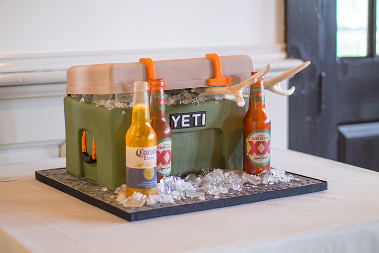 Yeti cooler grooms cake with sugar beer bottles by Kimbla's Cakes