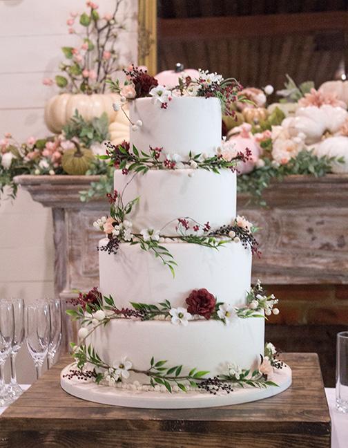 Wedding Cake with handmade fondant flowers by Kimbla's Cakes