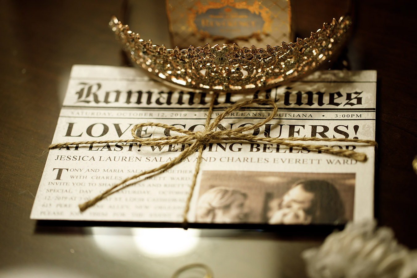 """Jessica and Rhett's wedding announcement was designed as a newspaper titled """"Romance Times"""""""