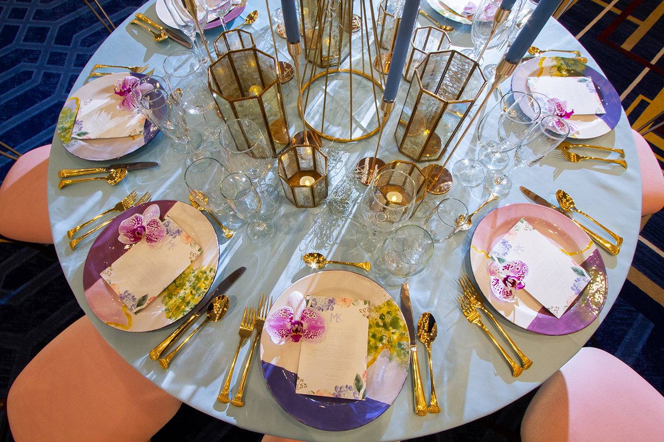 Hand-painted plates from Chez Clay | Watercolor menus by Invitobella | Rentals by True Value Rental | Florals by Mitch's Flowers