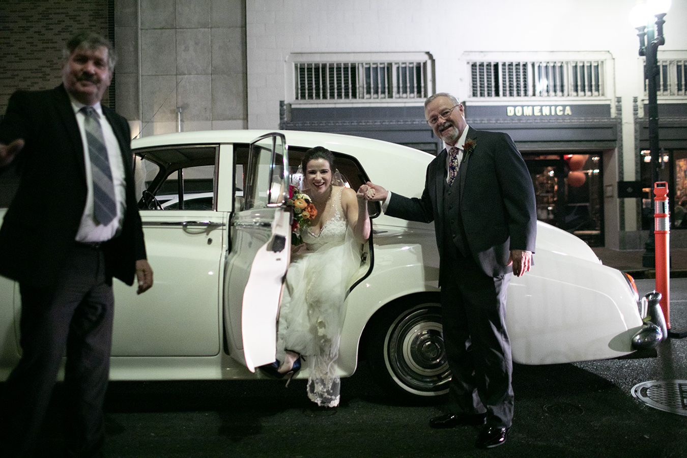 Margaret arrives at the church in a Vintage Rolls Royce from Big Easy Limos.