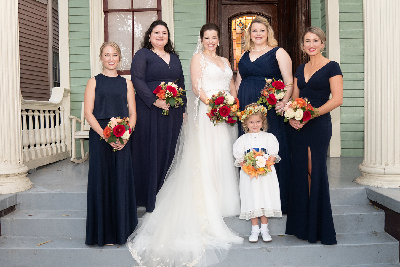 Margaret and her bridesmaids wore BHLDN gowns.