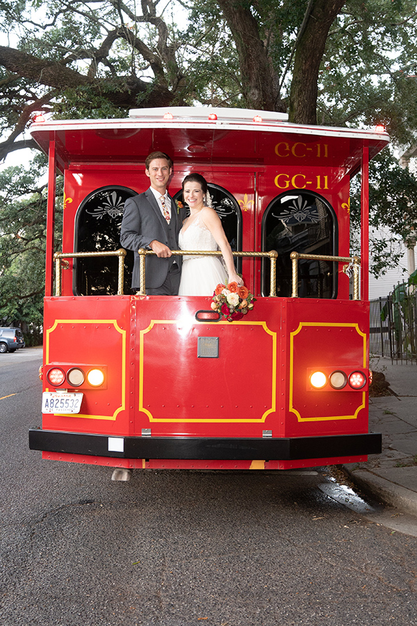 Travis and Margaret pose on Bonomolo Limos' Trolley.