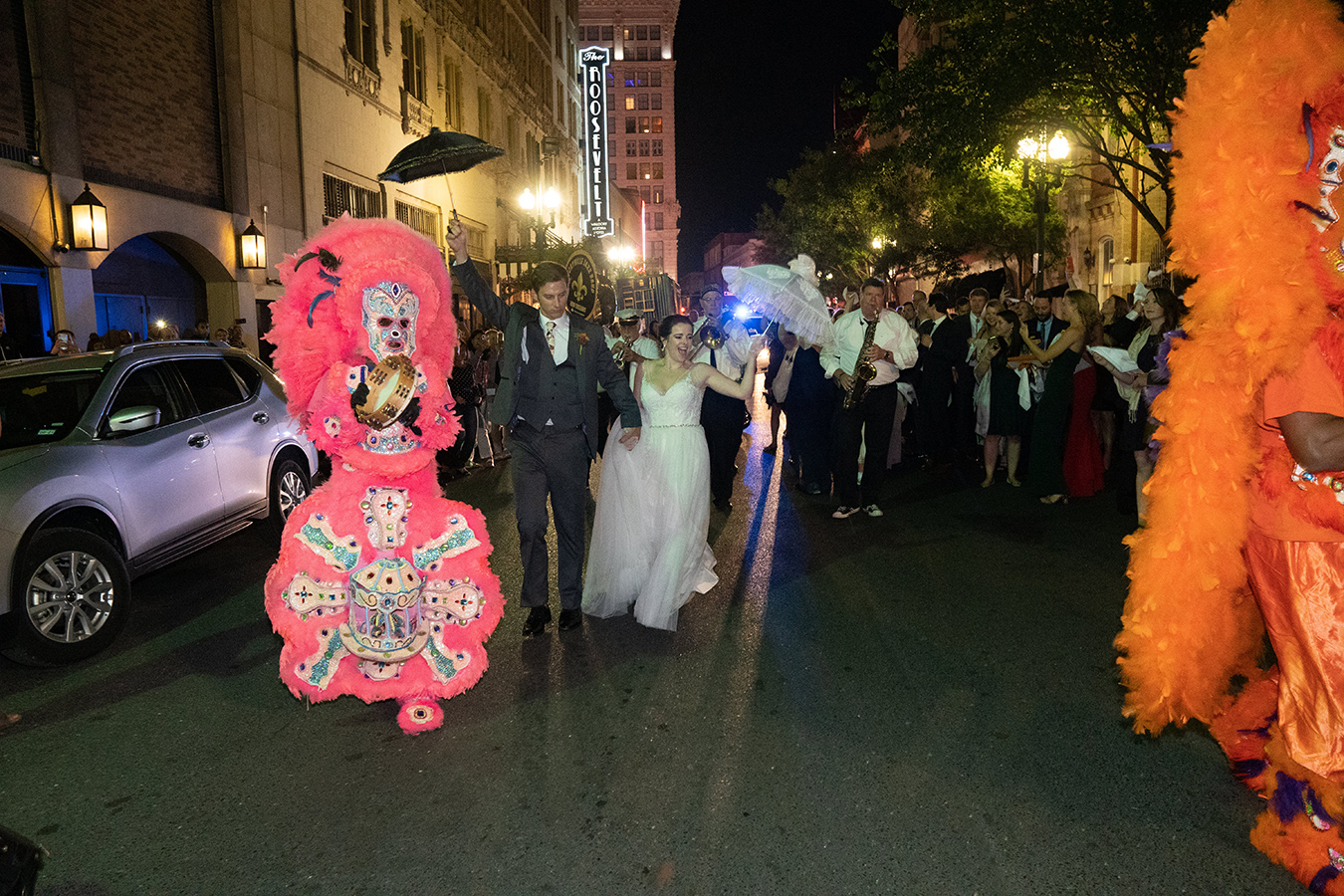 The Storyville Stompers and Mardi Gras Indians led Margaret and Travis' Second Line to the New Orleans Board of Trade.
