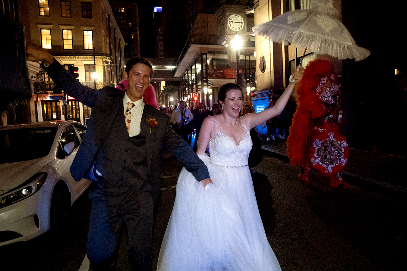 Margaret And Travis Second Line To Their Wedding Reception At The New Orleans Board Of Trade.